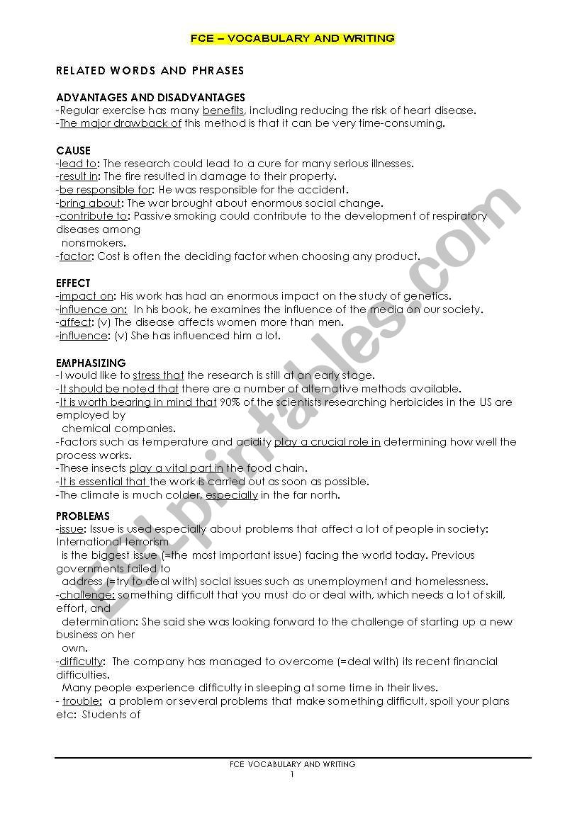 First Certificate Writing worksheet