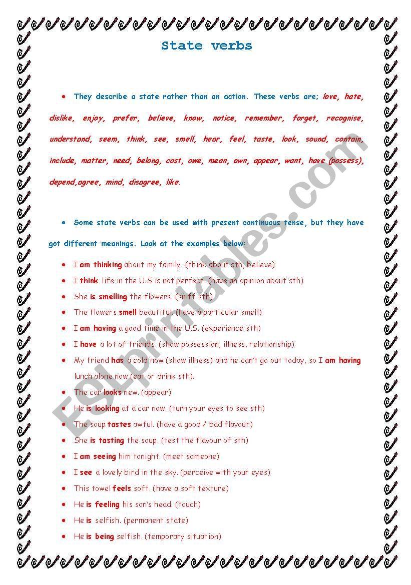 state verbs worksheet