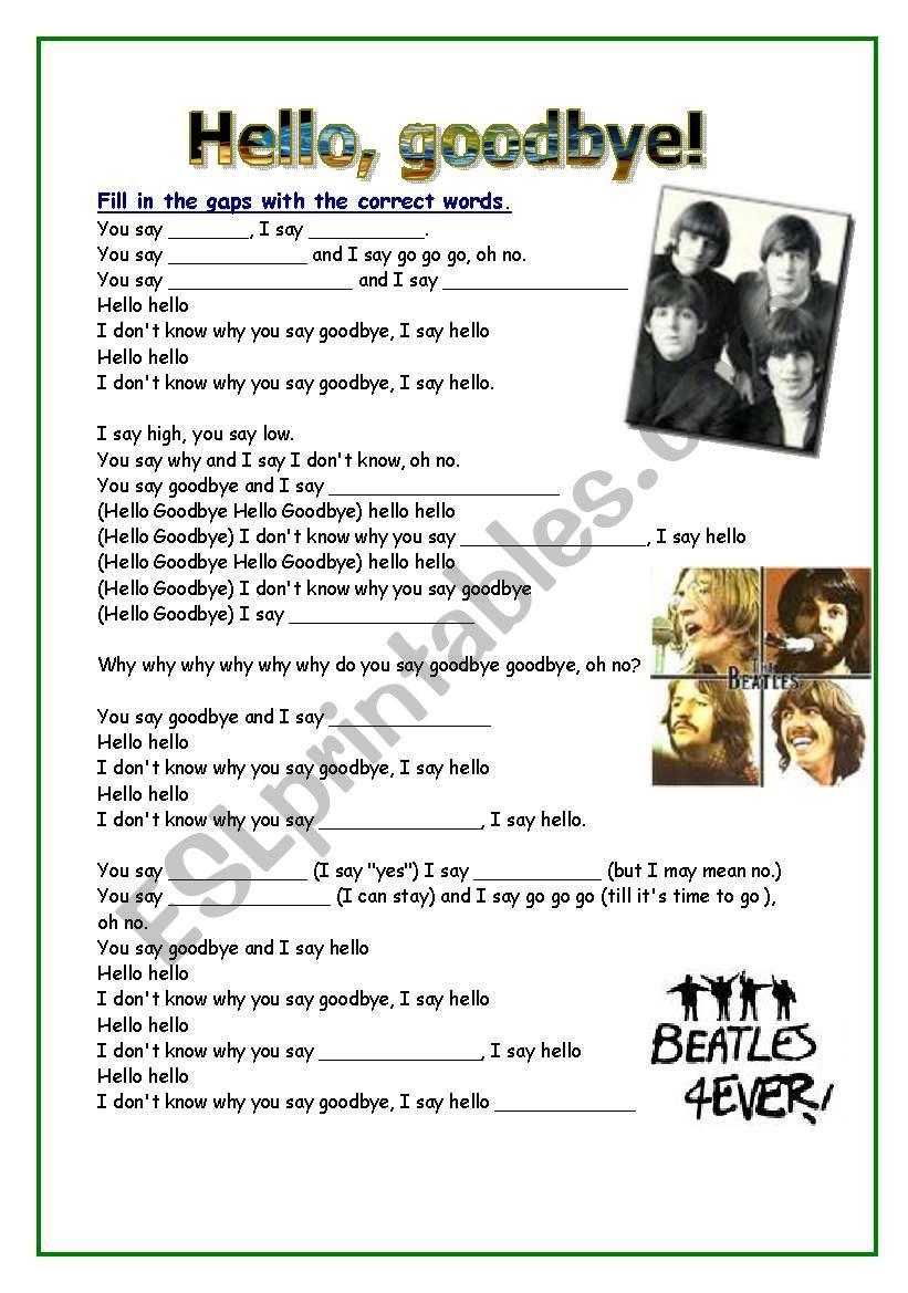 Hello goodbye song beatles worksheet