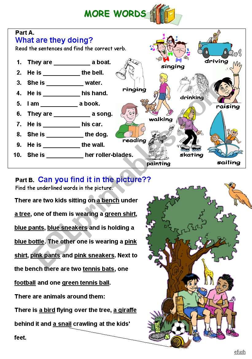 WS for beginners-vocabulary, verbs-present continuous, text