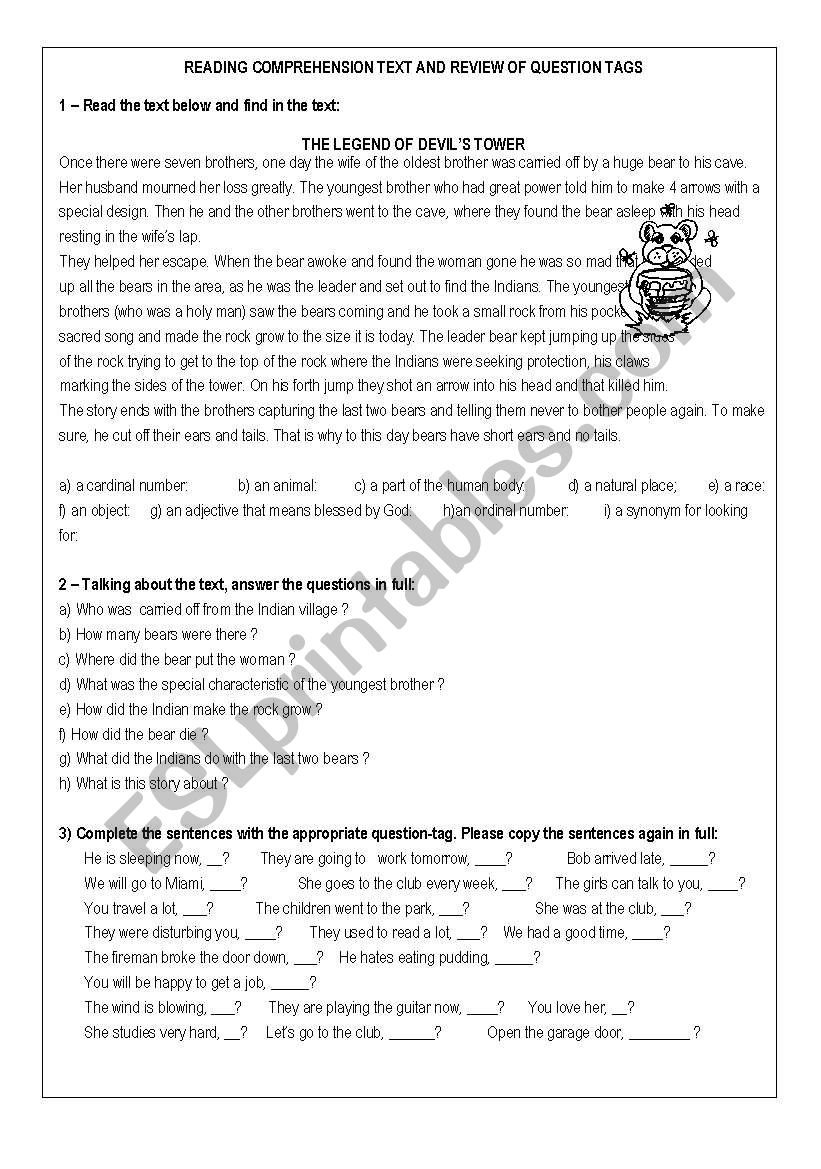 - Reading Comprehension - Review Of Tag Questions - ESL Worksheet By