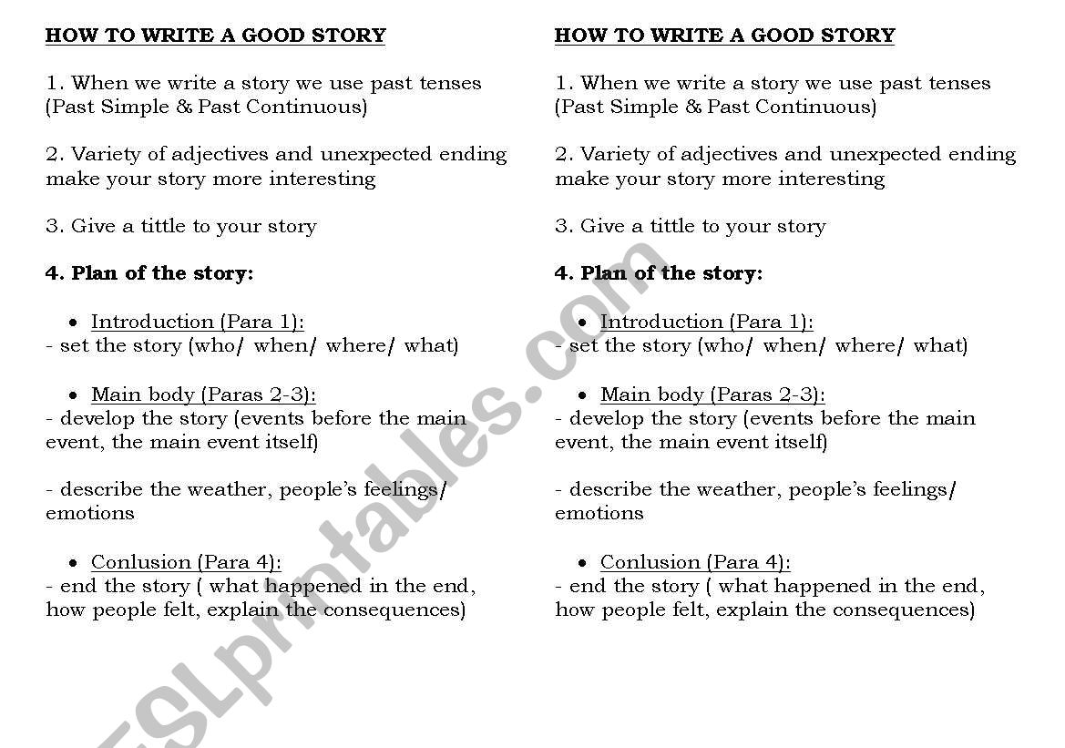 How to write a good story worksheet