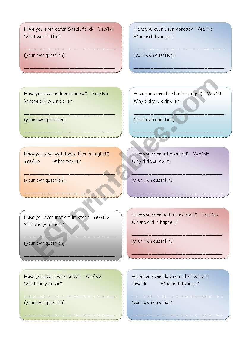 Activity cards - walkaround - Present Perfect, Simple Past