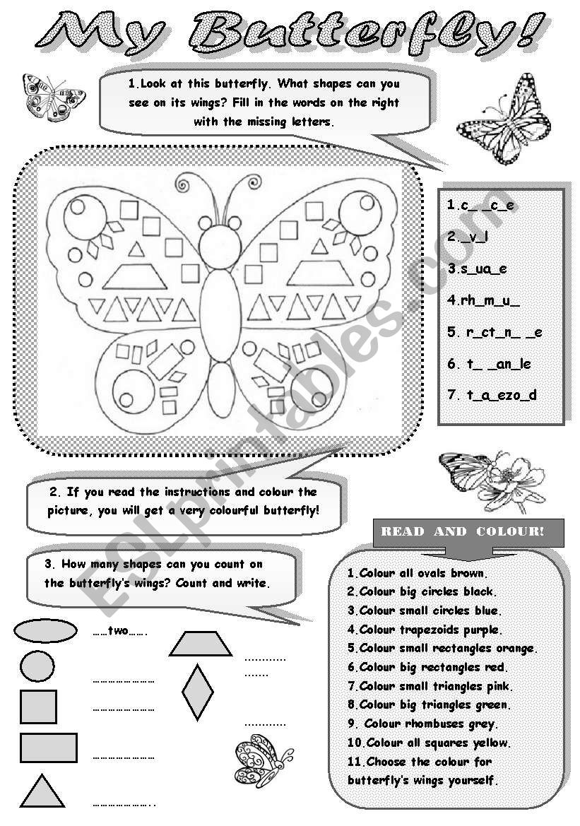 MY BUTTERFLY! - FUN WITH SHAPES!!! (+ revision of colours and numbers) for kids -3 activities to practise shapes