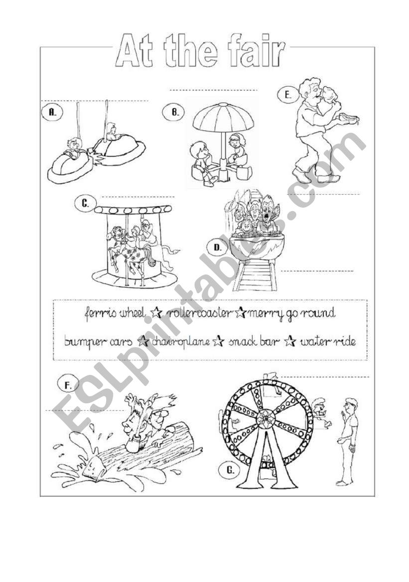 Funfair flashcard and activities set - part 3 - black and white printer-friendly worksheet (2 pages)