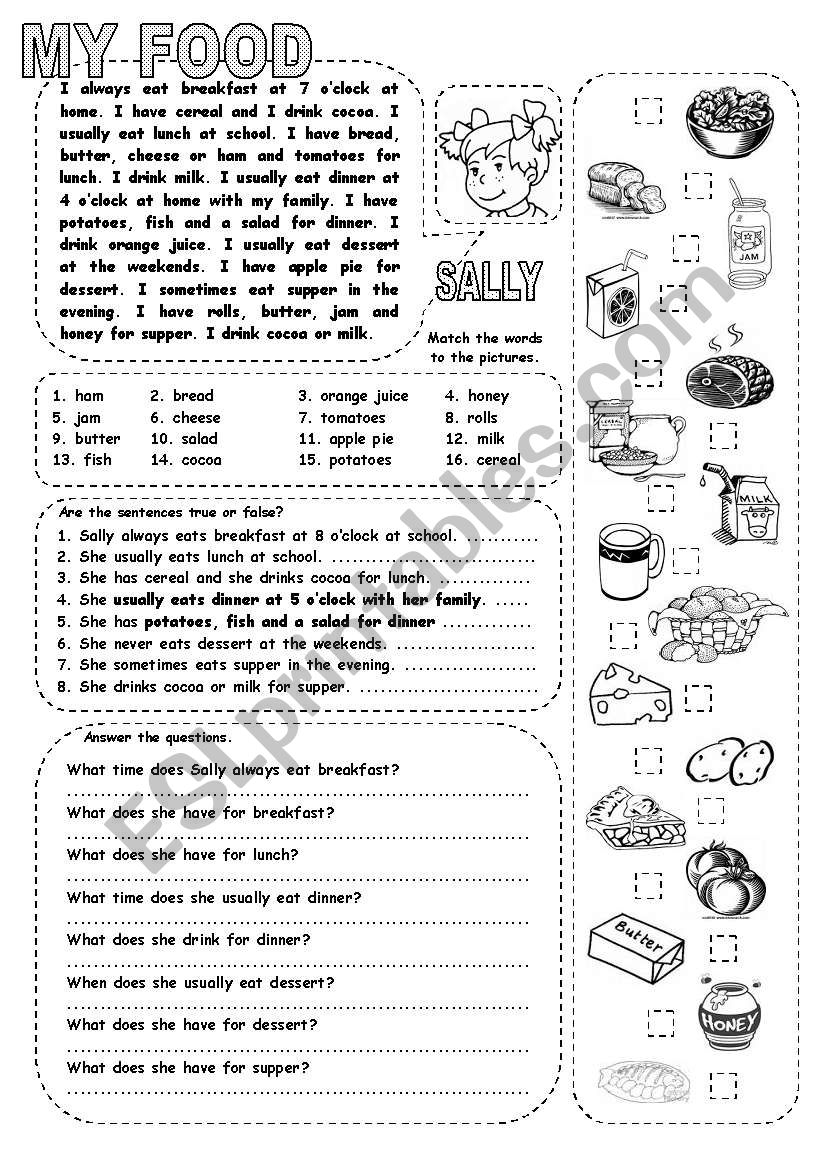 MY FOOD worksheet