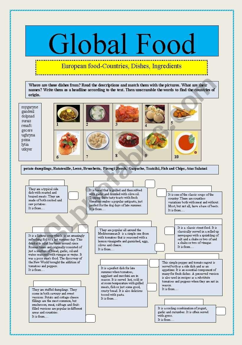 Global Food worksheet