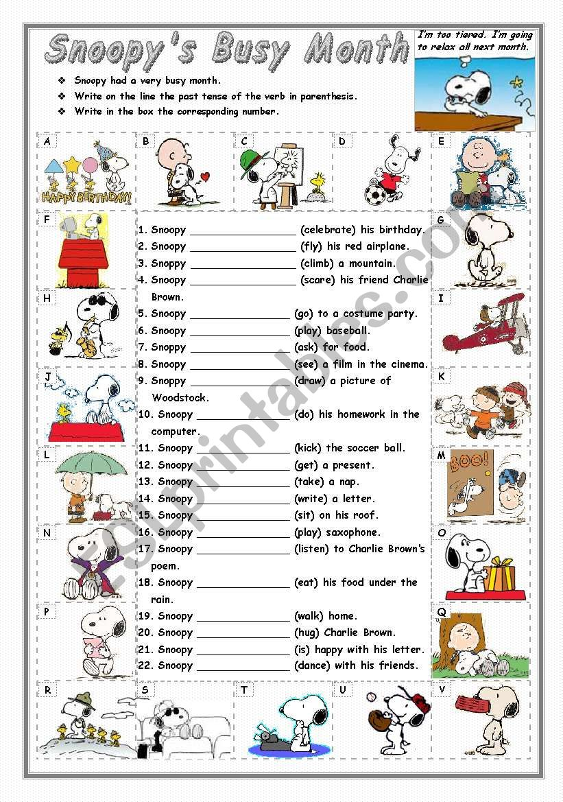 Regular and Irregular - Simple Past - SNOOPY´S BUSY MONTH