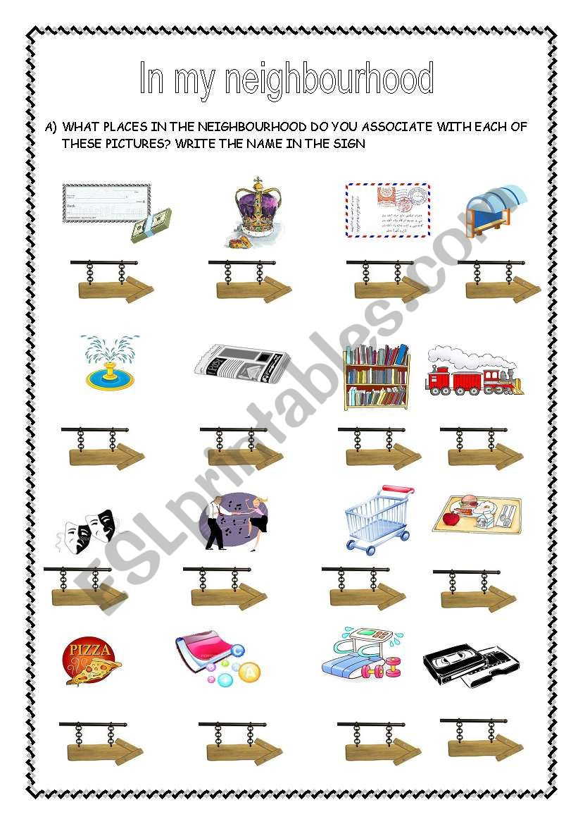 in my neighbourhood 1st part esl worksheet by sandramendoza. Black Bedroom Furniture Sets. Home Design Ideas