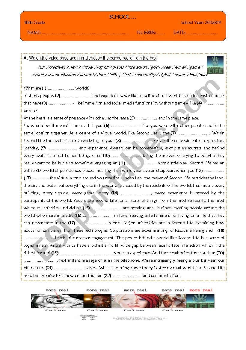 Video - Technology worksheet