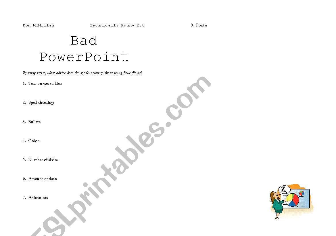 Bad Powerpoint Esl Worksheet By Dennypackard