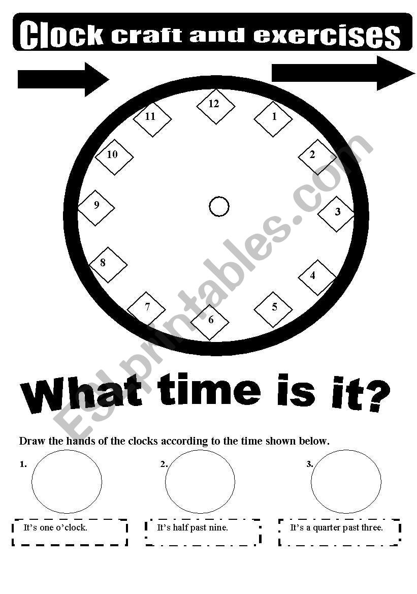 clock craft and exercises - black  u0026 white version   2 pages