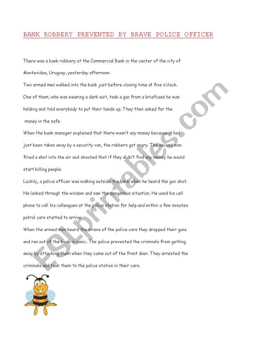 THE BANK ROBBERY worksheet