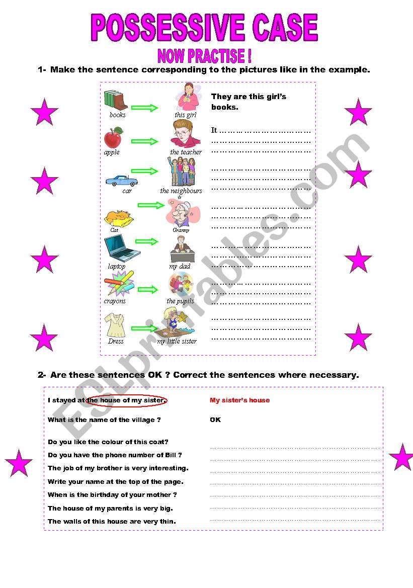 Possessive case  (PART 2) worksheet