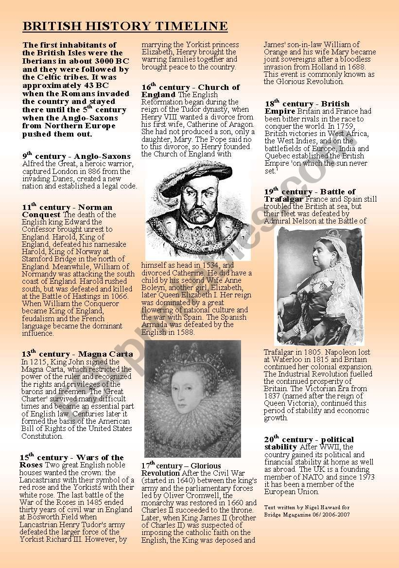 BRITISH HISTORY  worksheet