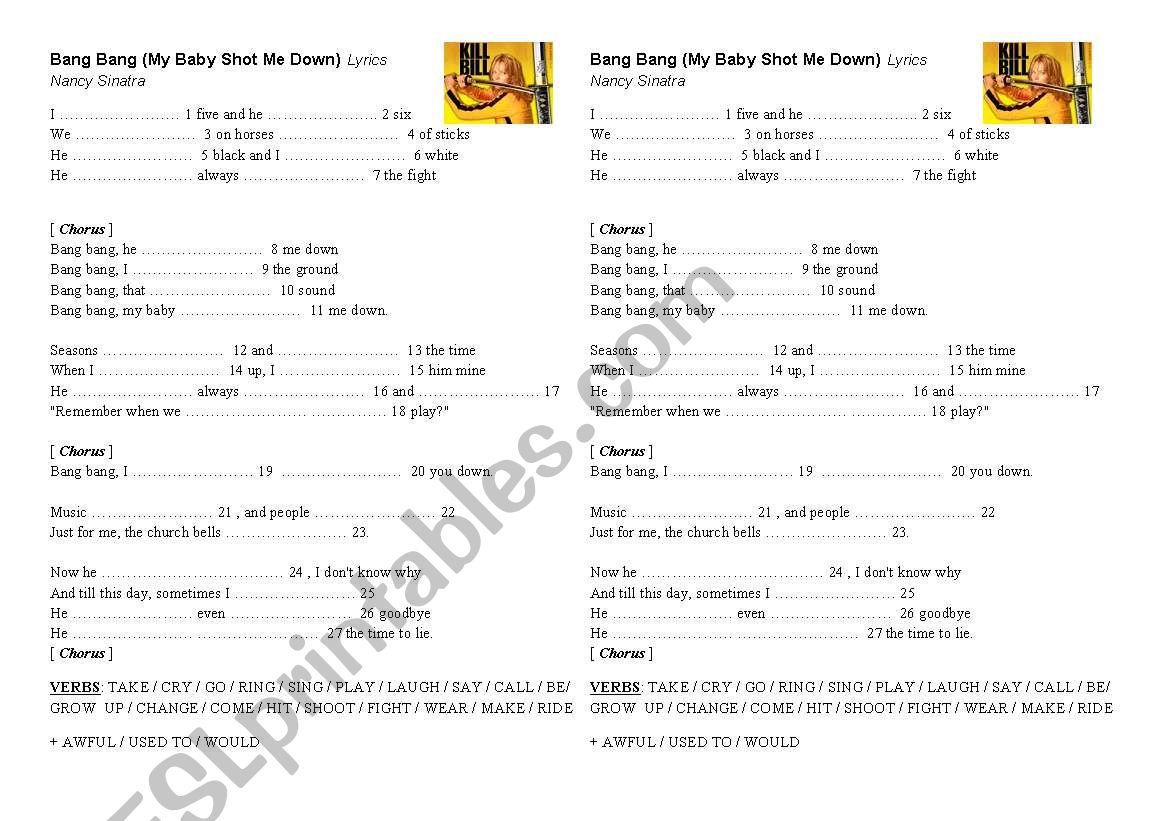 Song Bang Bang Nancy Sinatra worksheet
