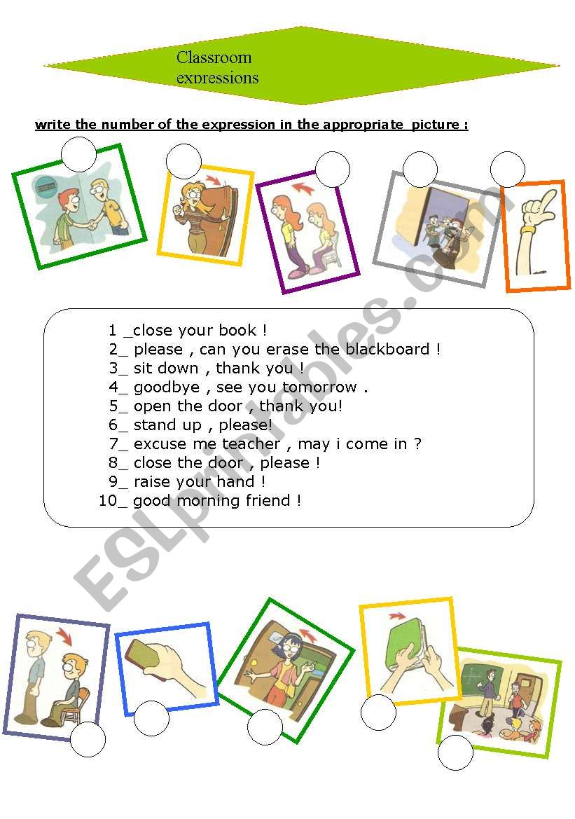 classroom expressions worksheet