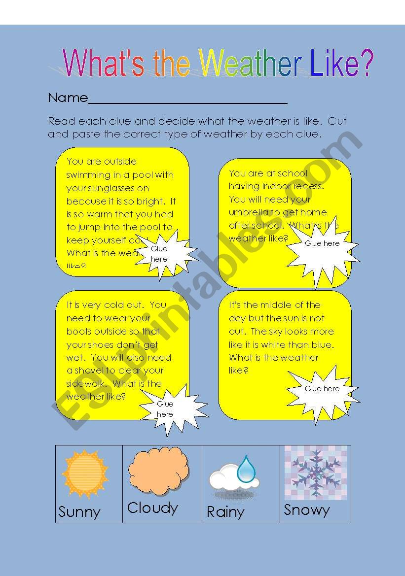 what´s the weather like?? worksheet