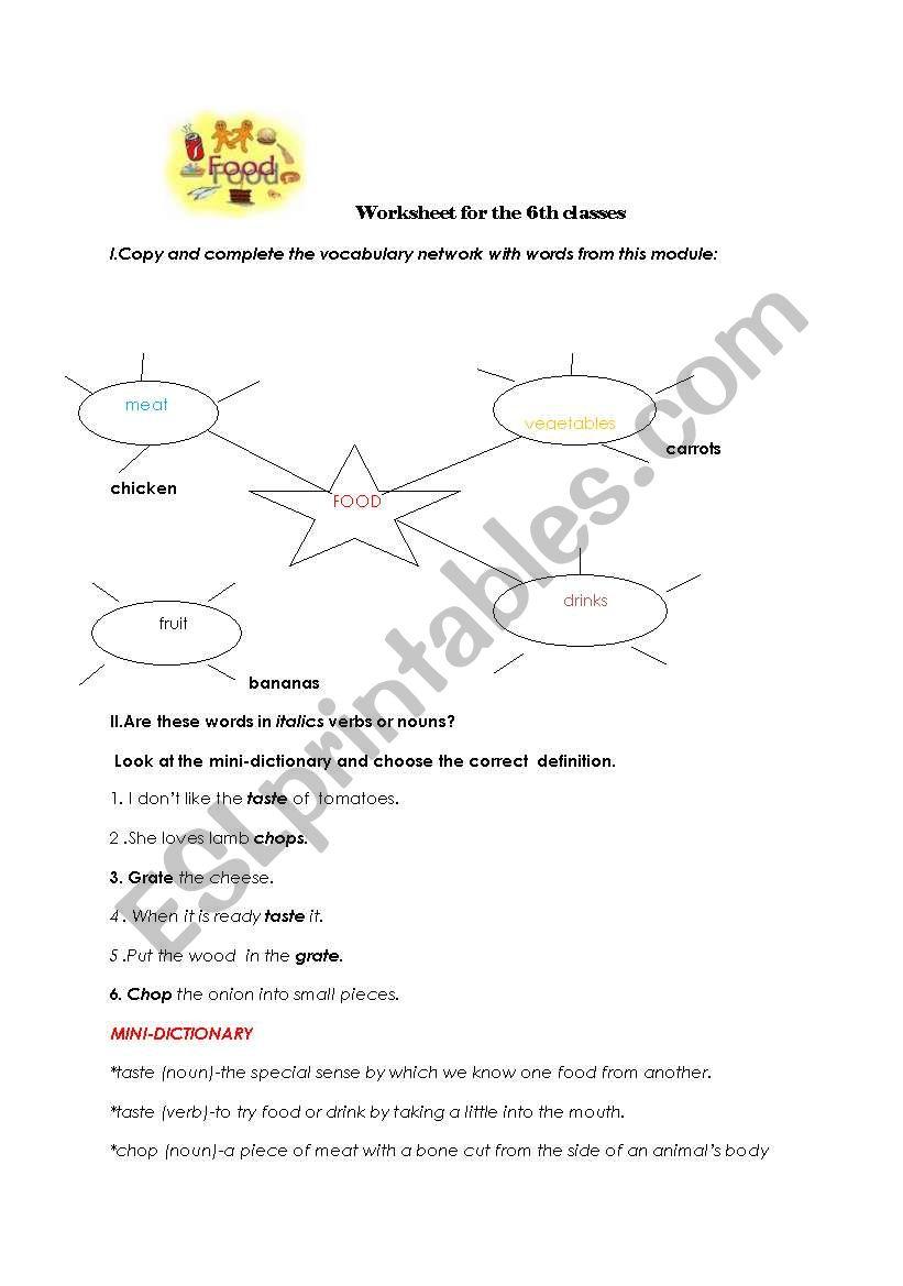 Worksheet for the 6th classes worksheet