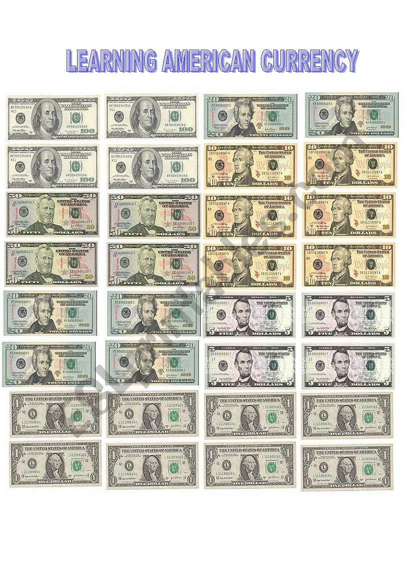 Learning American Currency worksheet
