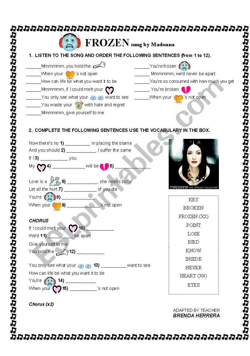MADONNA- FROZEN worksheet