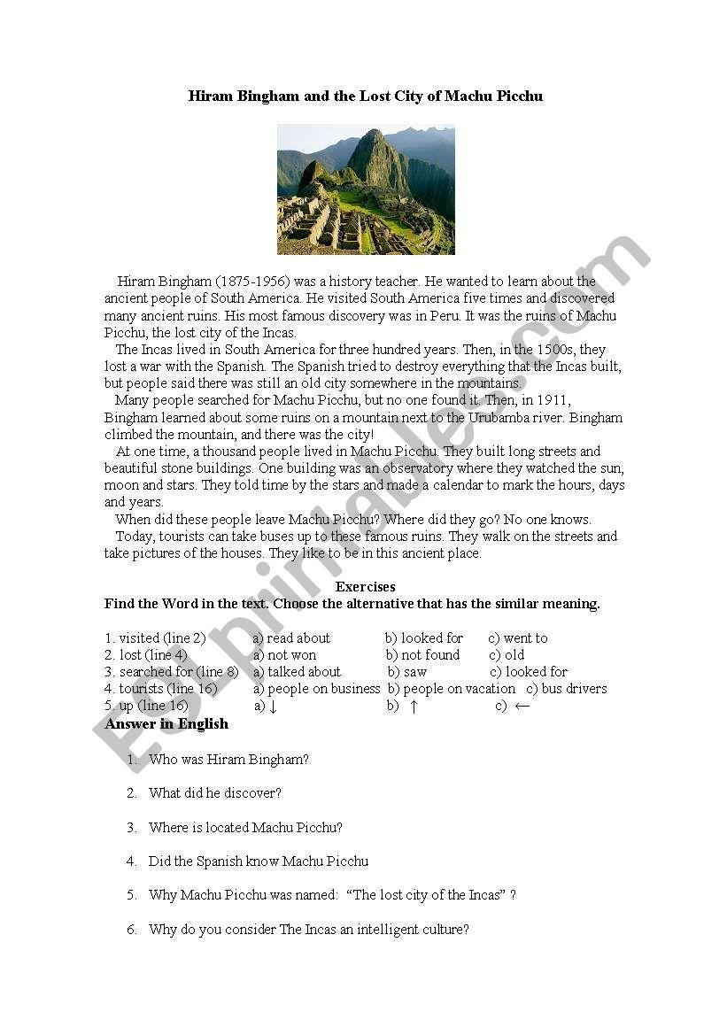 Hiram Bingham and the Lost City of Machu Picchu