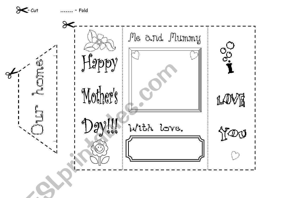 Our home - Mother´s Day card worksheet