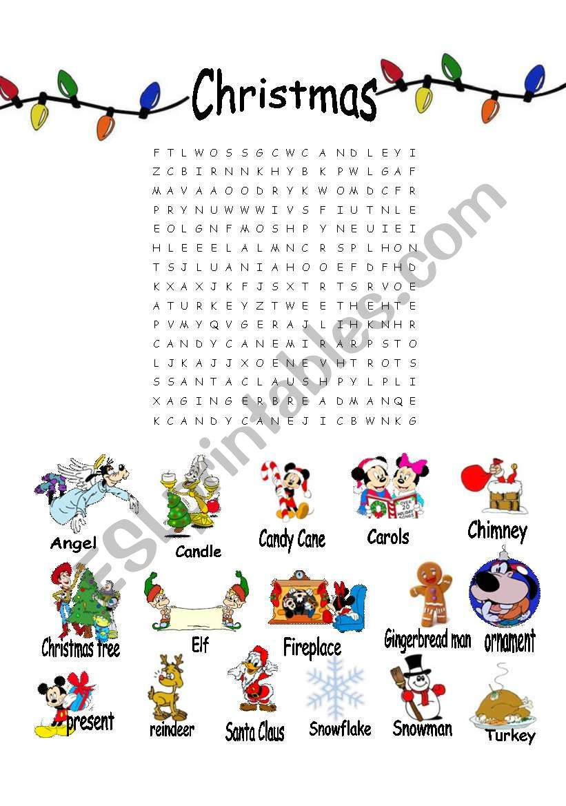 Christmas Word Search Esl Worksheet By Vanille81