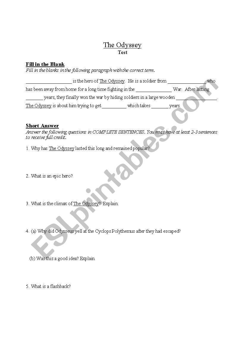 Odyssey Worksheets Kidz Activities
