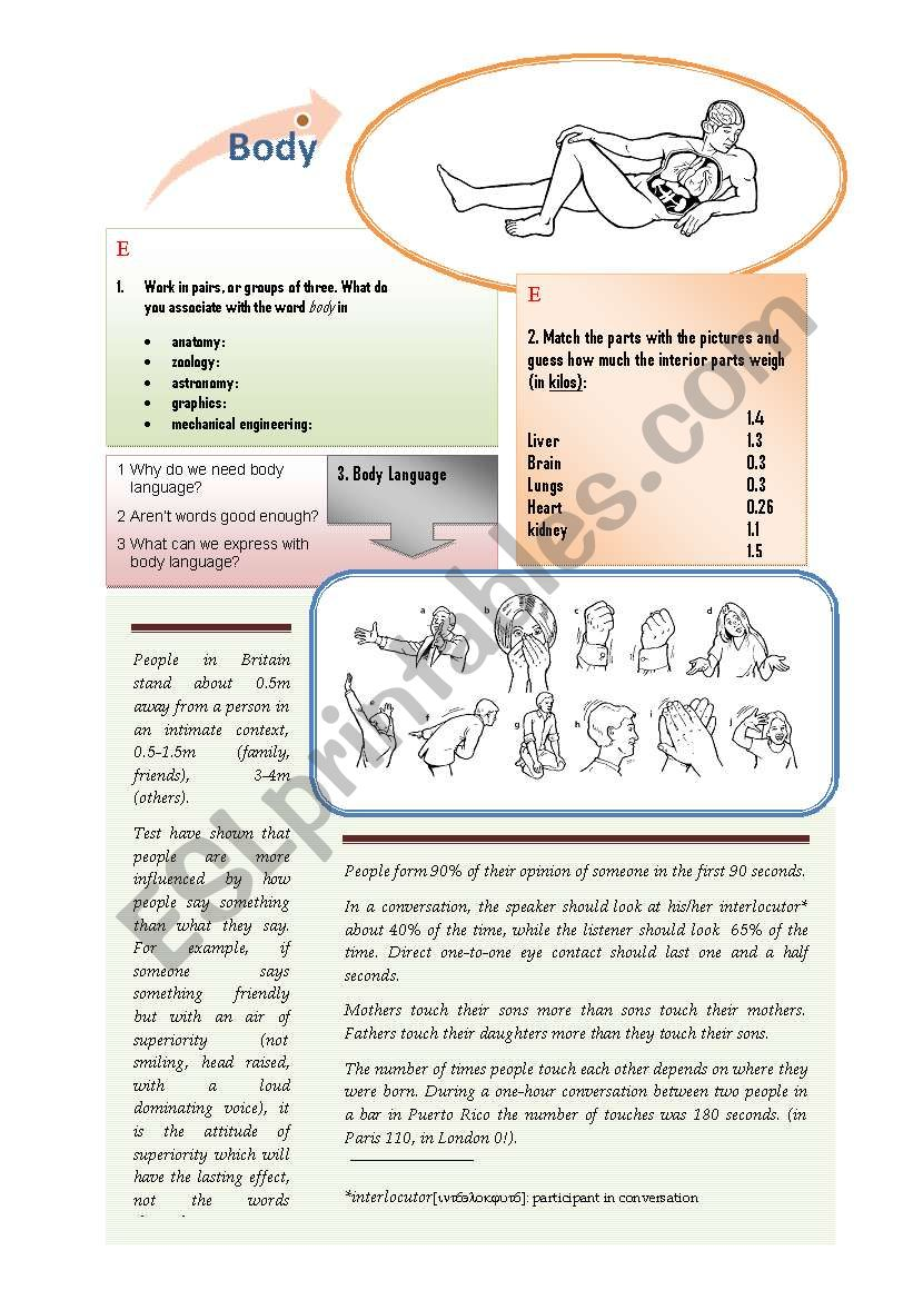 Body and Body Language (3 pages)