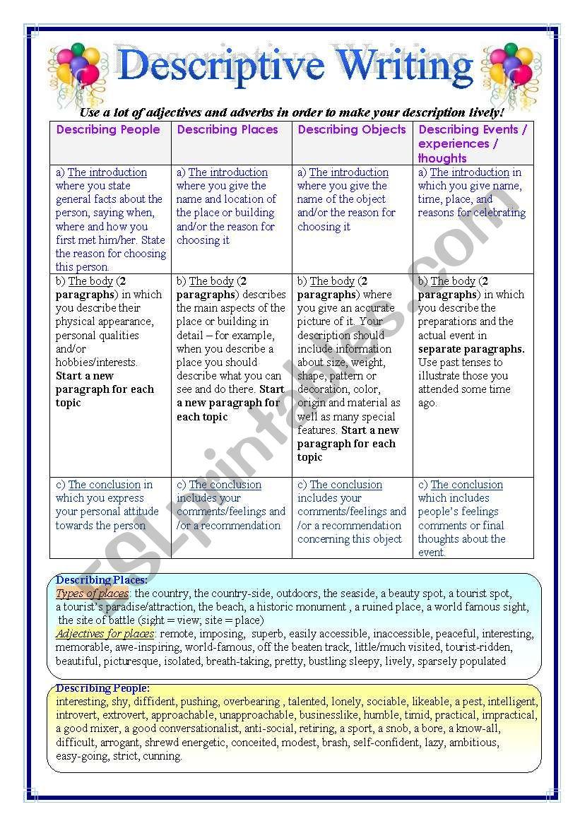 Worksheets For Descriptive Writing : English worksheets writing descriptive essays