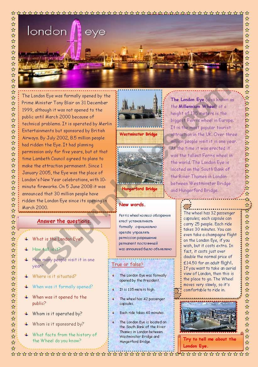 The London Eye (2 pages) worksheet