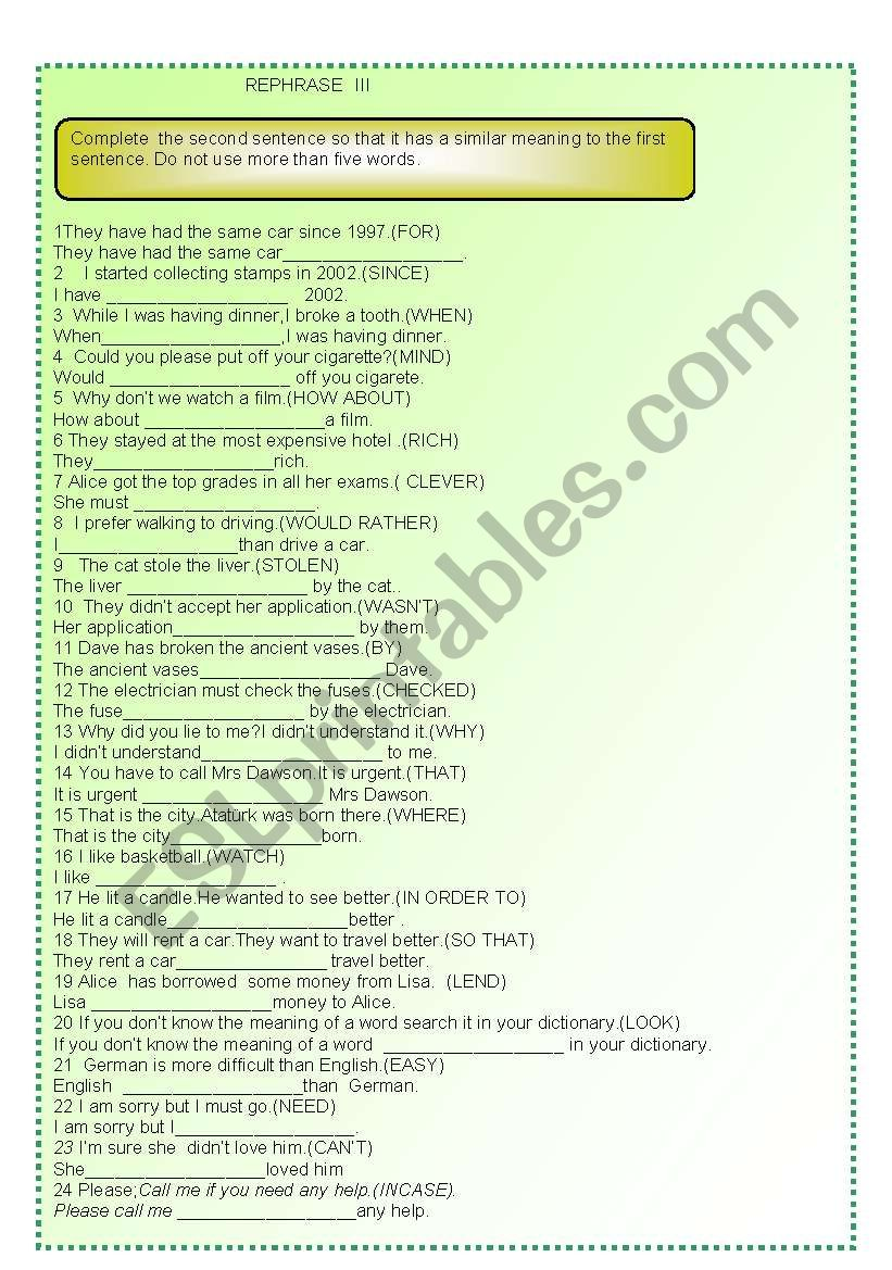 REPHRASE III worksheet