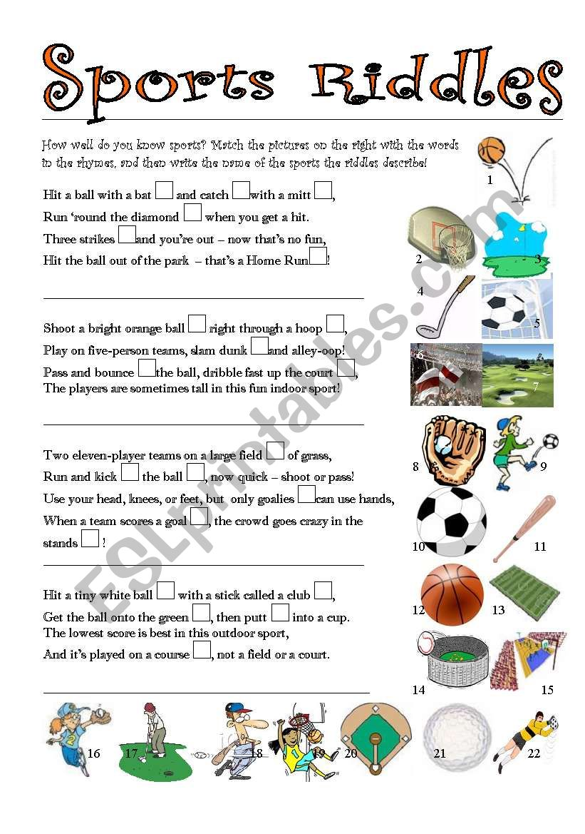 picture relating to Riddles for Kids Printable known as Sporting activities Riddles - ESL worksheet by way of gkole70