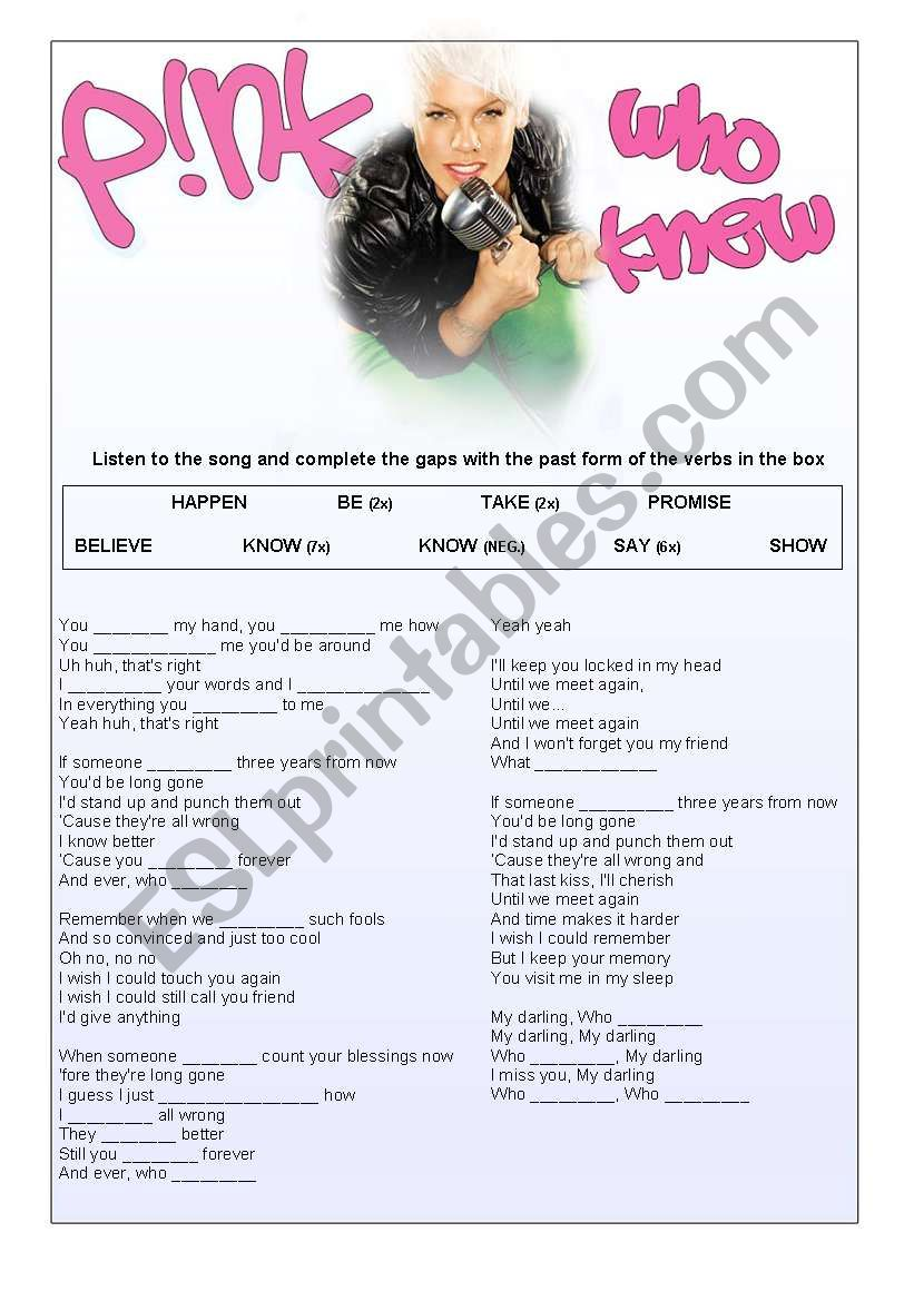 Who Knew - Simple Past Song worksheet