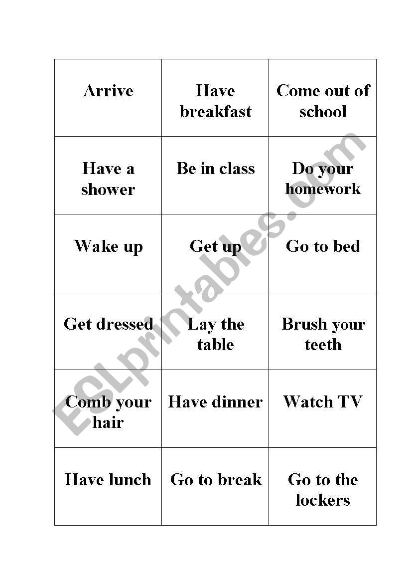 daily routines memory game worksheet