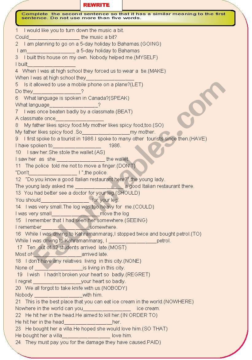 REPHRASE IV worksheet