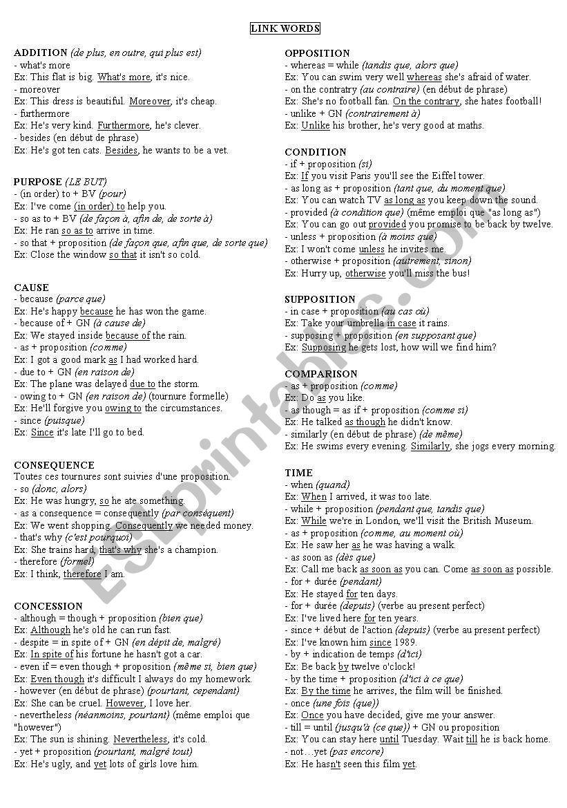 link words worksheet
