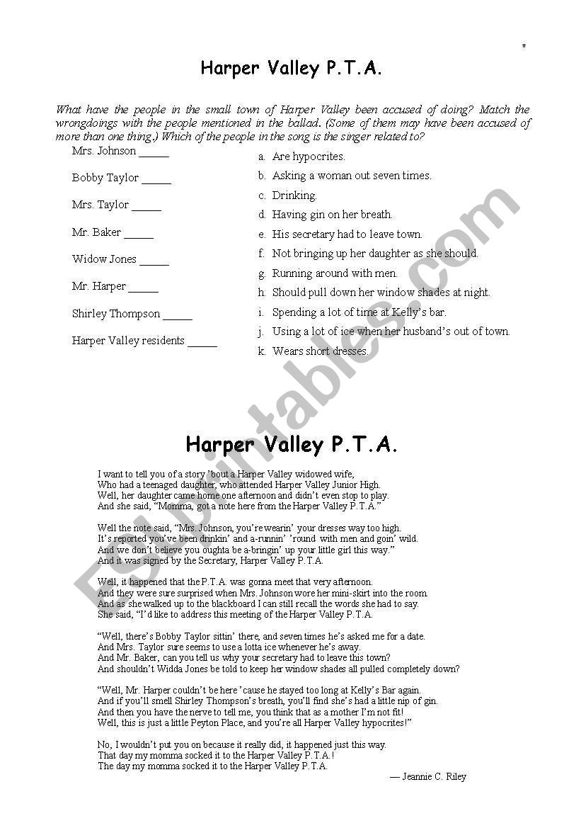 picture about You Ve Been Socked Printable referred to as English worksheets: Harper Valley PTA