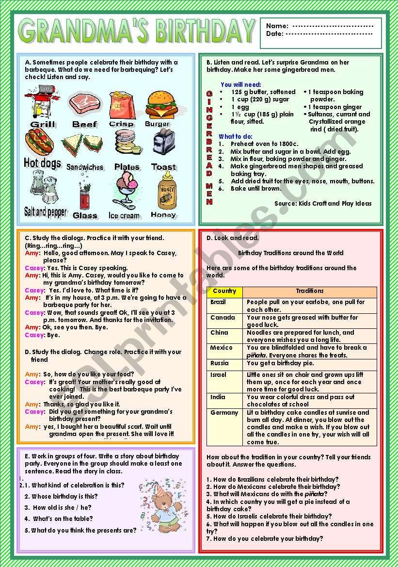 Grandma´s birthday worksheet