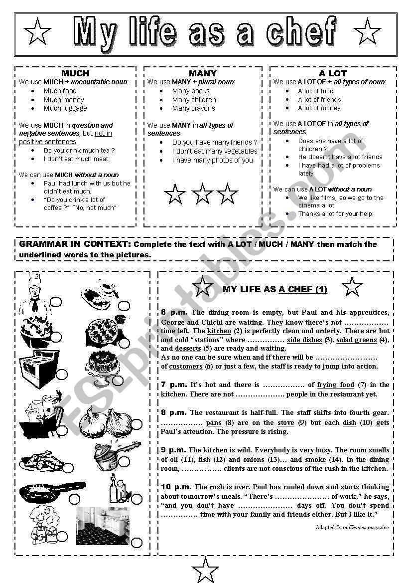 My life as a chef  B&W worksheet