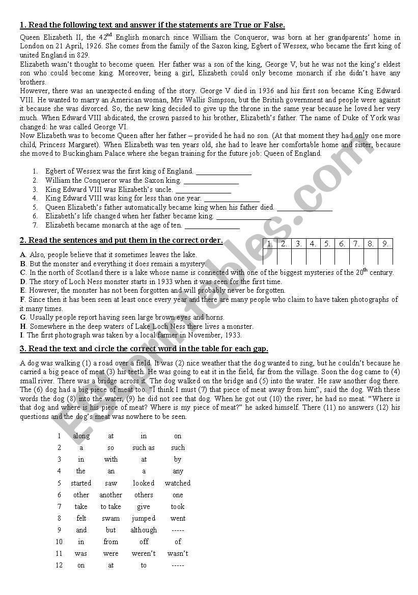 reading exercise for intermediate students