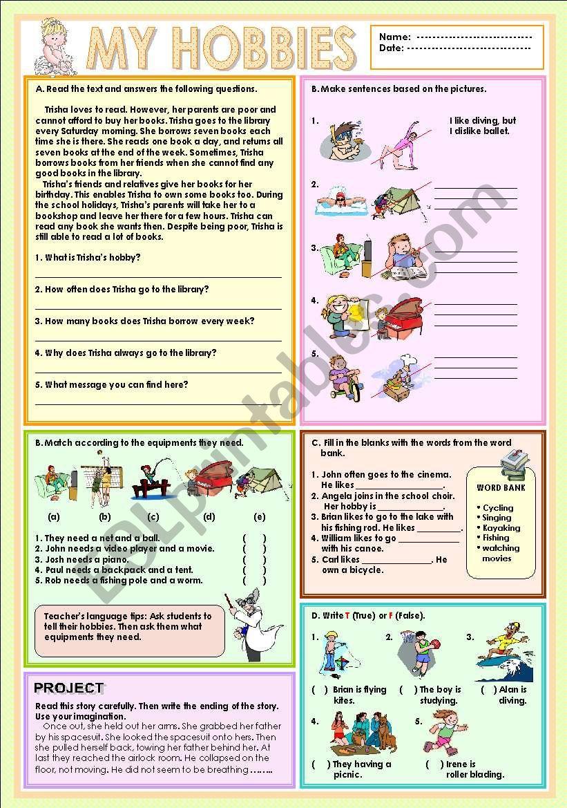 My hobbies worksheet