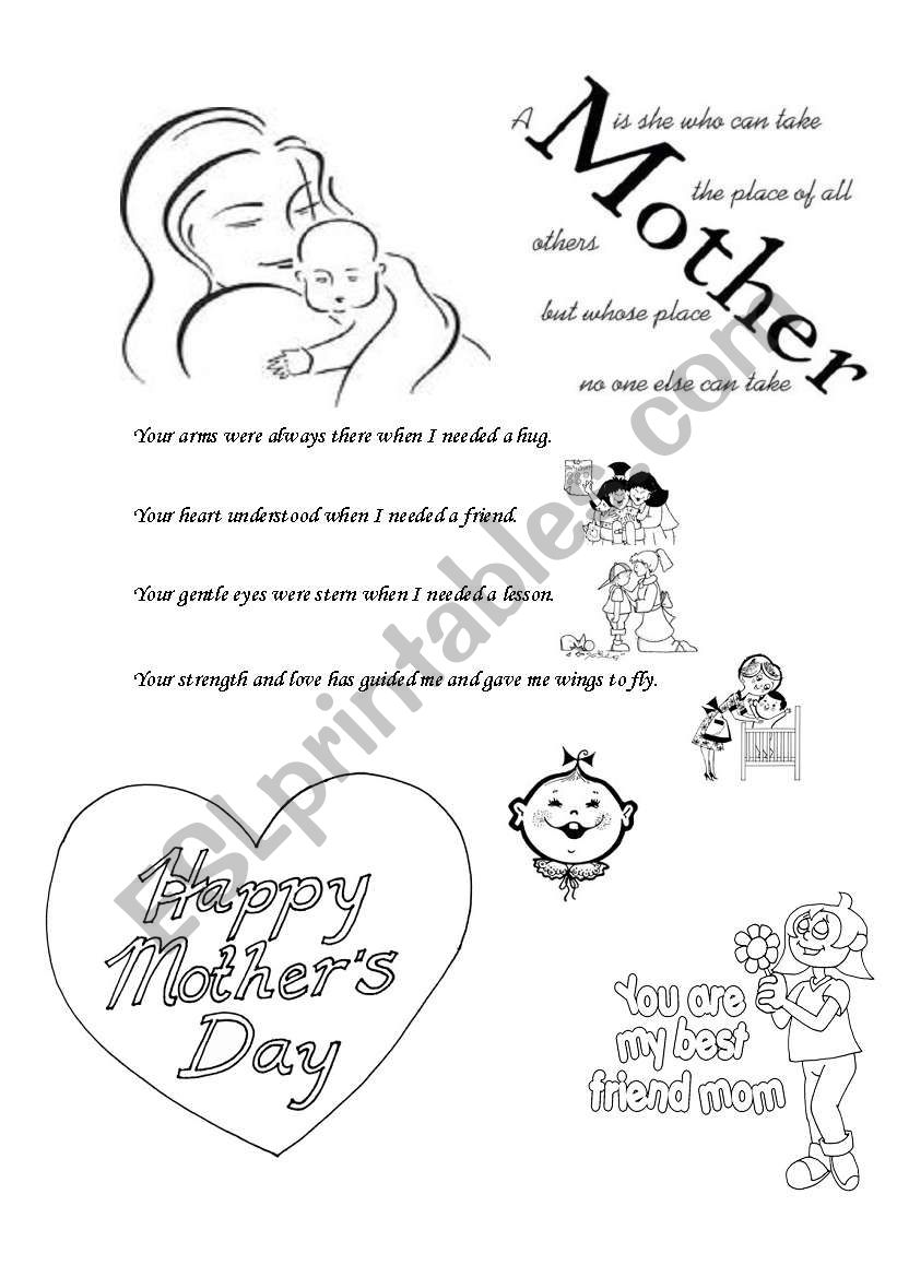english worksheets happy mothers day. Black Bedroom Furniture Sets. Home Design Ideas