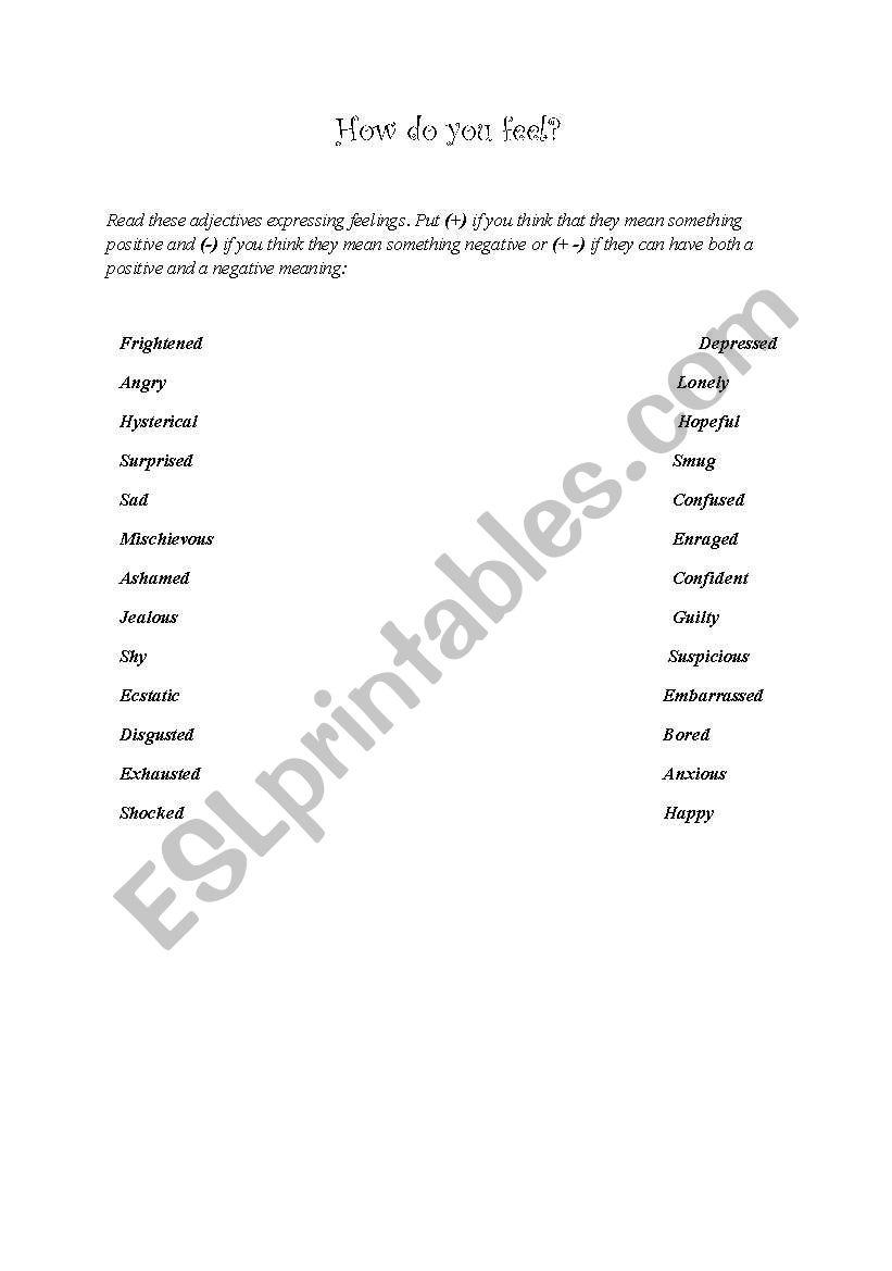 English Worksheets Describing Feelings