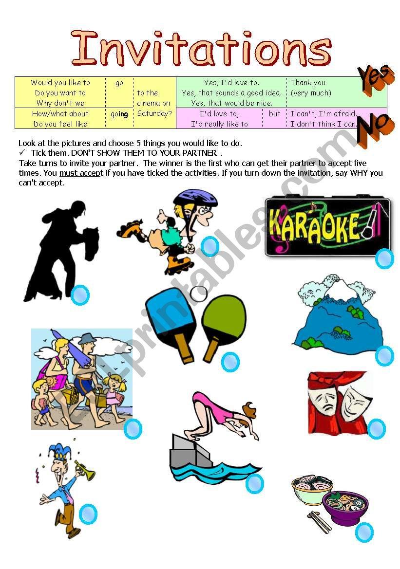 Invitations - Pairwork worksheet