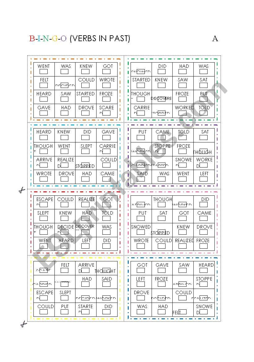 BINGO (VERBS IN PAST) worksheet