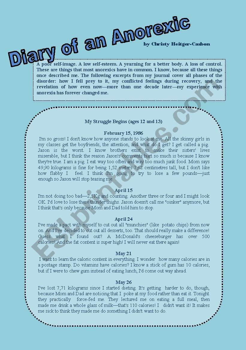 Diary of an anorexic - ESL worksheet by Carla74
