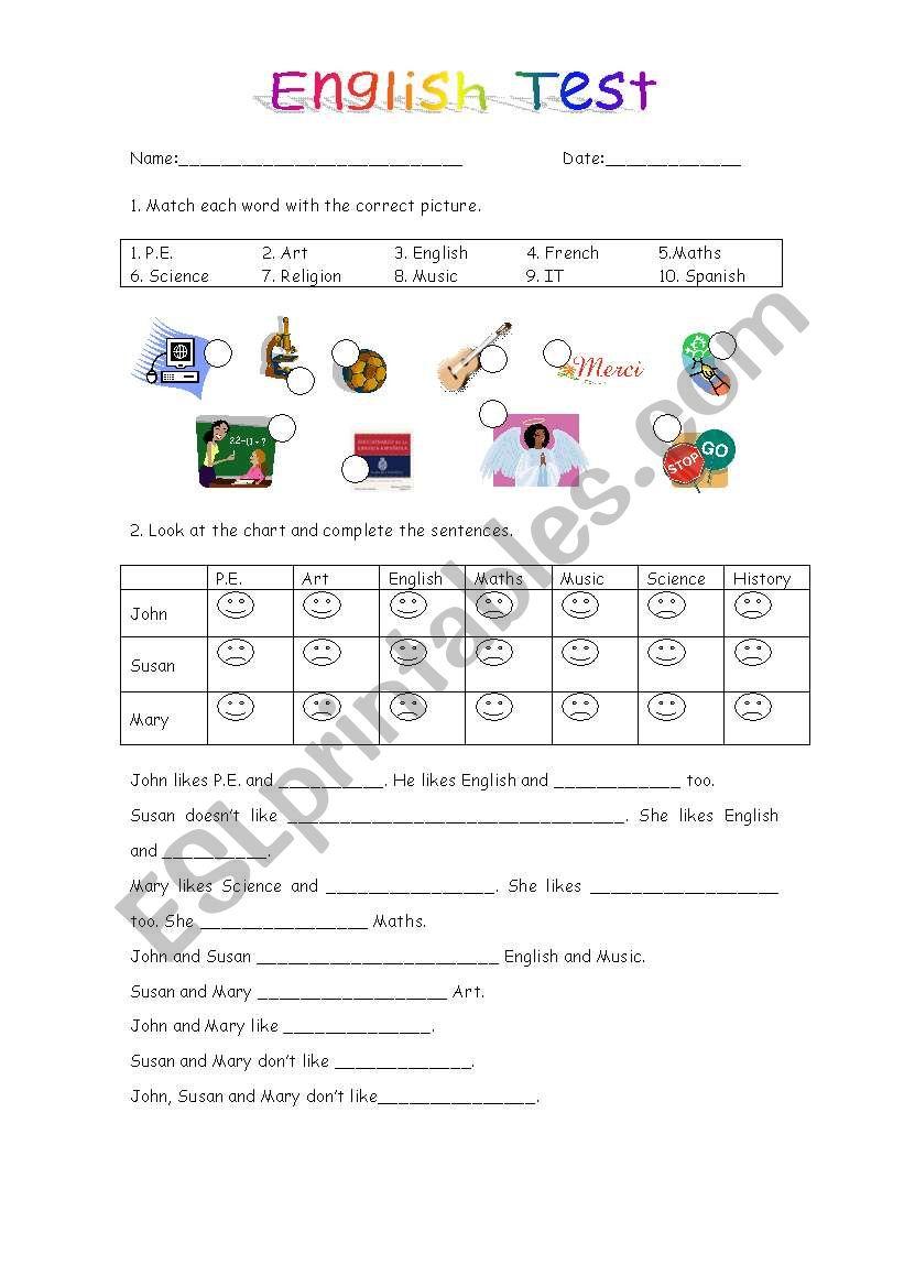 Elementary english test worksheet