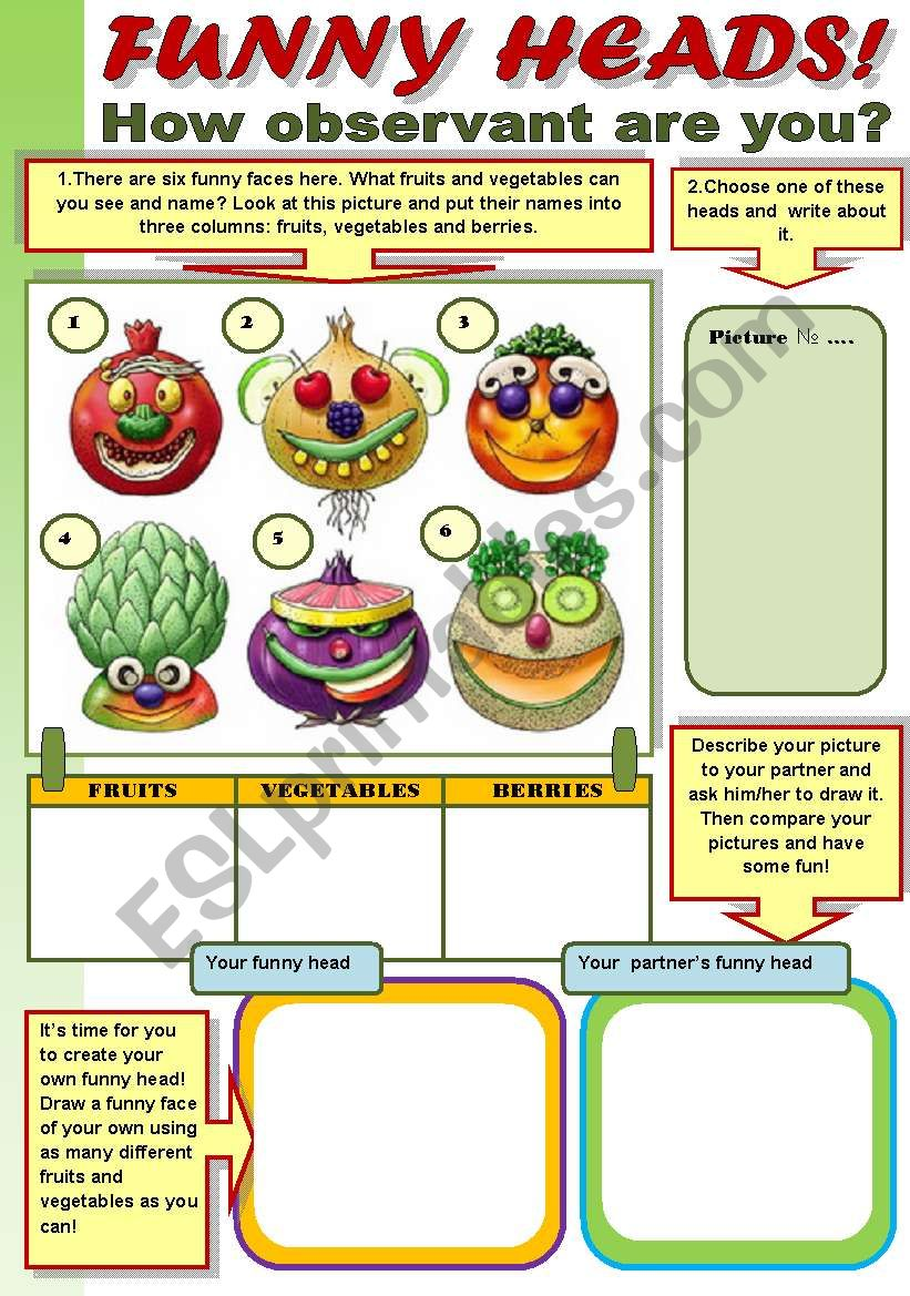 FUNNY HEADS!  - FRUITS AND VEGETABLES REVISION WITH FUN!